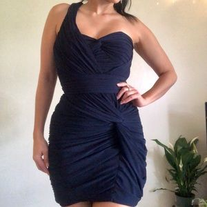 Soft Ruched one strap navy cocktail dress